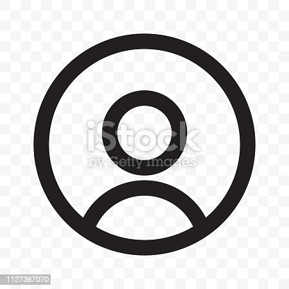 User member vector icon for social net or smartphone UI app design. Isolated avatar profile head or facepic silhouette in black circle isolated on transparent background