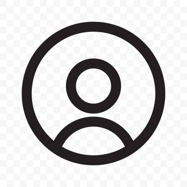 ilustraciones, imágenes clip art, dibujos animados e iconos de stock de icono de vector de usuario miembro de red social o diseño de aplicación de interfaz de usuario de smartphone. silueta de cabeza o facepic de perfil avatar aislado en círculo negro aislado sobre fondo transparente - person on computer