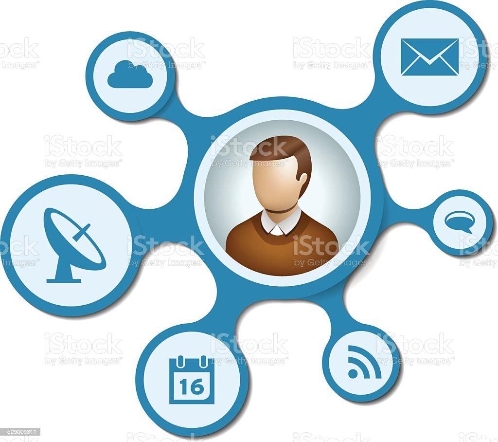 User network with blue metaballs on white background vector art illustration