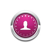 User  Pink Vector Button Icon