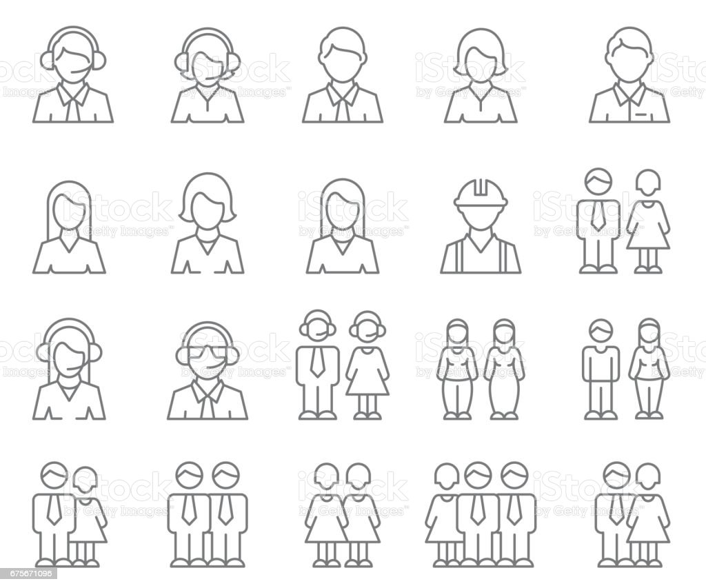 User Profile icon set - illustrazione arte vettoriale