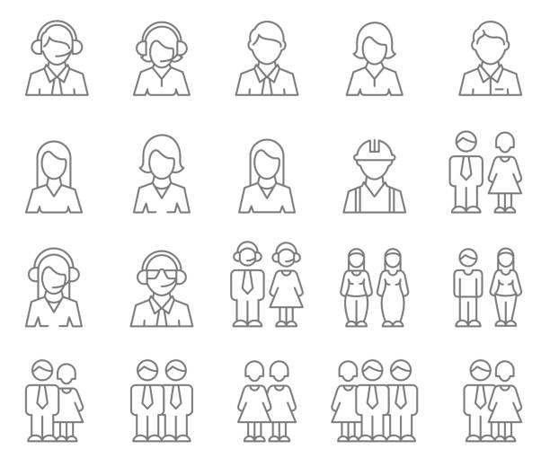 user profile icon set - business people stock illustrations, clip art, cartoons, & icons