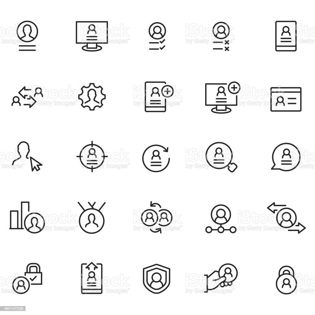 User profile icon set vector art illustration