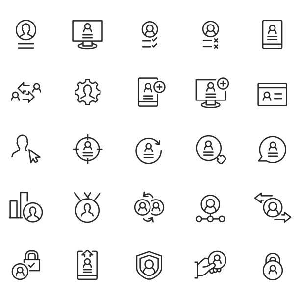 bildbanksillustrationer, clip art samt tecknat material och ikoner med användaren profil ikonuppsättning - logga in