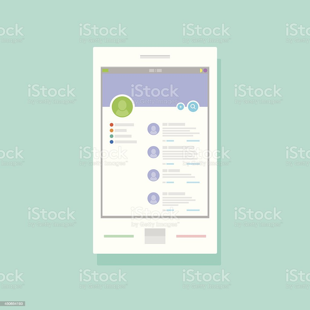 User profile of social networking application on mobile device royalty-free user profile of social networking application on mobile device stock vector art & more images of communication