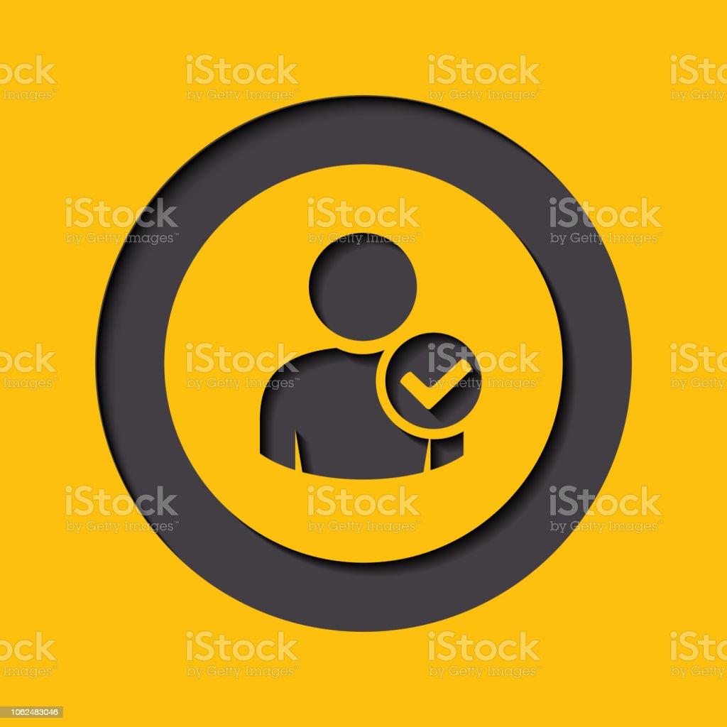 User profile sign web icon with check mark glyph. illustration design...