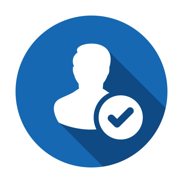 User profile sign web icon with check mark glyph. User authorized vector illustration design element. Flat style design icon. Account verified icon. Checked verified profile symbol. User accepted. Ok vector art illustration