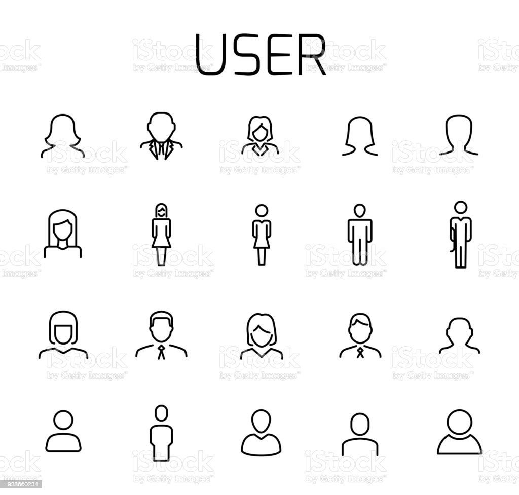 User related vector icon set. - Grafika wektorowa royalty-free (Antropomorficzna twarz)