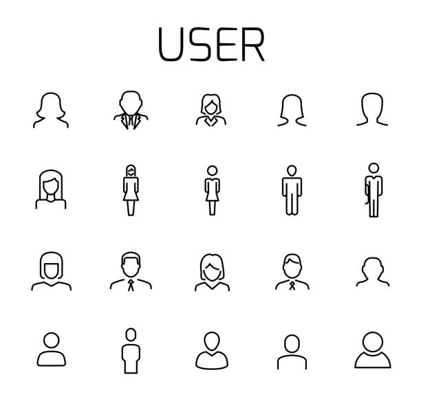 User related vector icon set. vector art illustration