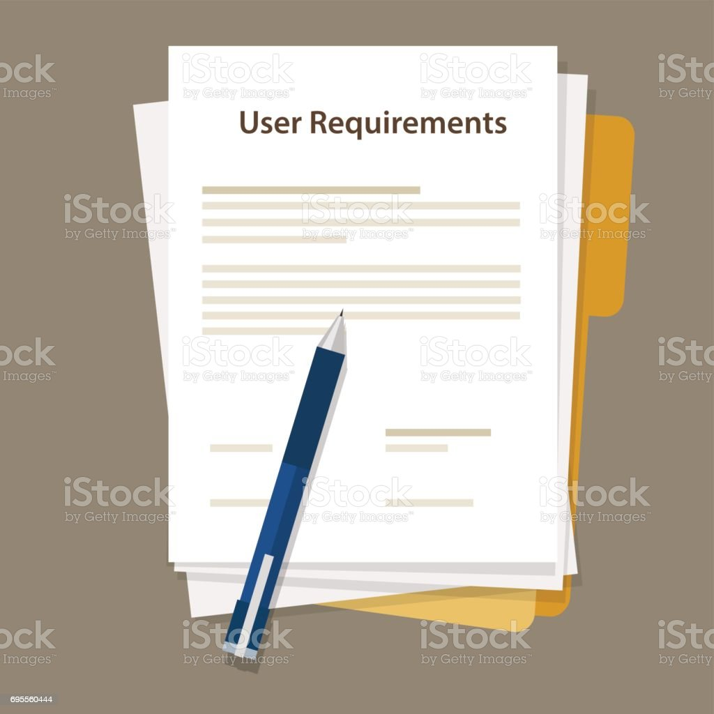 user requirements specifications document paper work vector art illustration