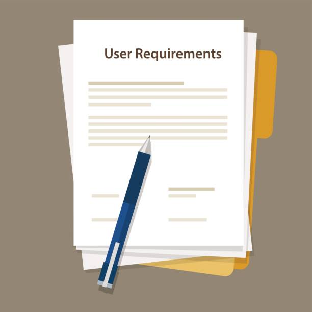 user requirements specifications document paper work user requirements specifications document paper work vector rules stock illustrations