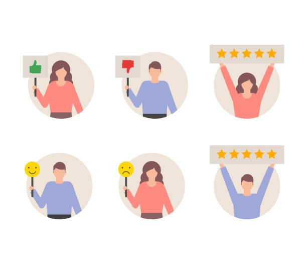 illustrations, cliparts, dessins animés et icônes de ensemble de commentaires critiques des utilisateurs, clients donnant les cotes vector illustration - relation client