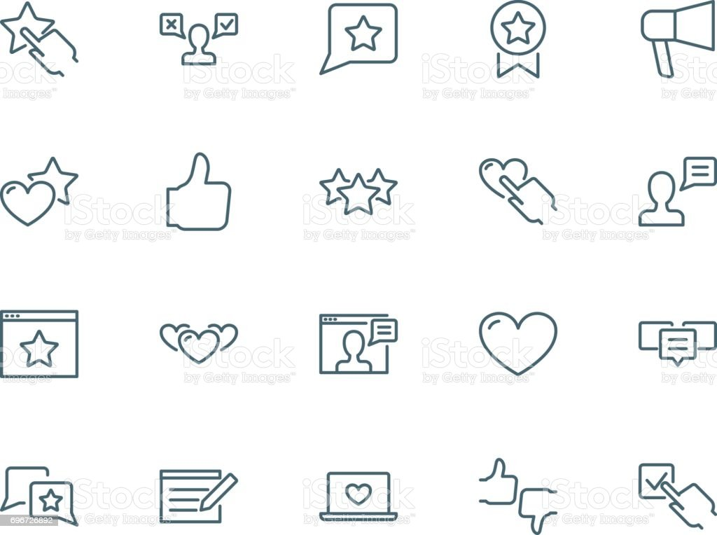User reviews icons set vector art illustration
