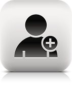 User sign with plus pictogram square icon web button