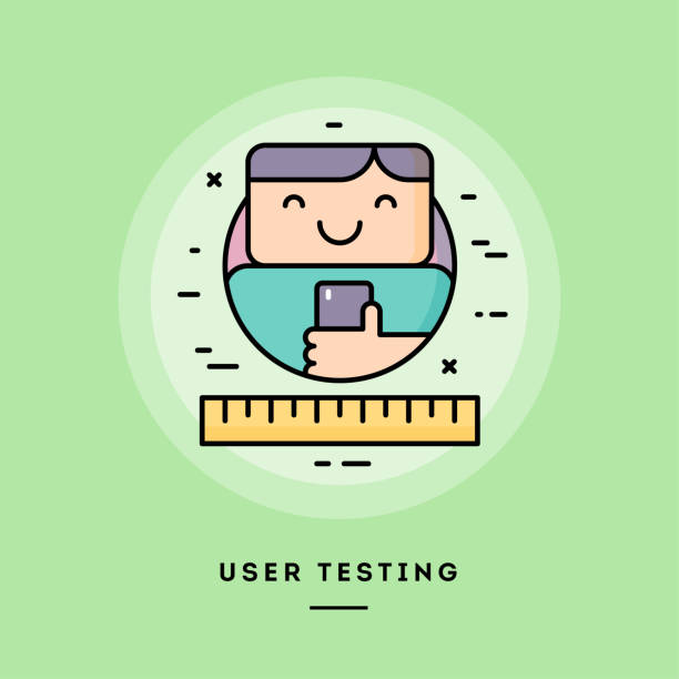 User testing, flat design thin line banner. Vector illustration. User testing, flat design thin line banner, usage for e-mail newsletters, web banners, headers, blog posts, print and more. Vector illustration. test drive stock illustrations