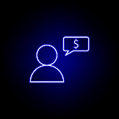 user worker bubble dollar icon in neon style. Element of finance illustration. Signs and symbols icon can be used for web, logo, mobile app, UI, UX on black background