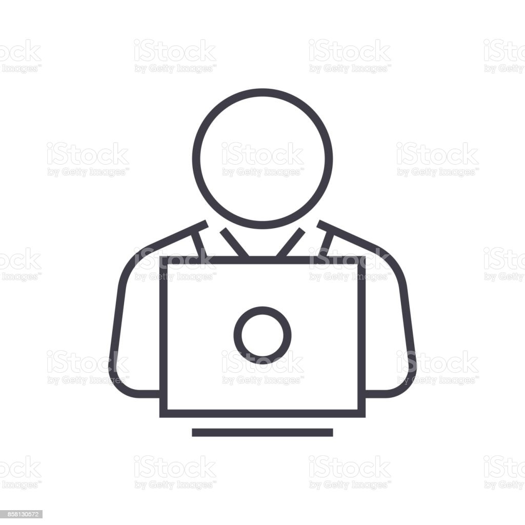user working on laptop vector line icon, sign, illustration on background, editable strokes vector art illustration