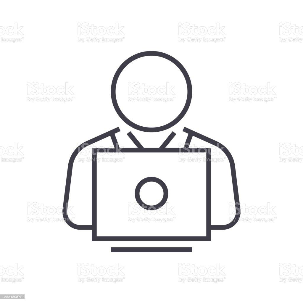 usuario trabajando en ordenador portátil vector línea icono, signo, Ilustración de fondo, trazos editables - ilustración de arte vectorial
