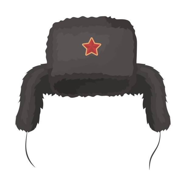 Ushanka icon in cartoon style isolated on white background. Russian country symbol stock vector illustration. - illustrazione arte vettoriale