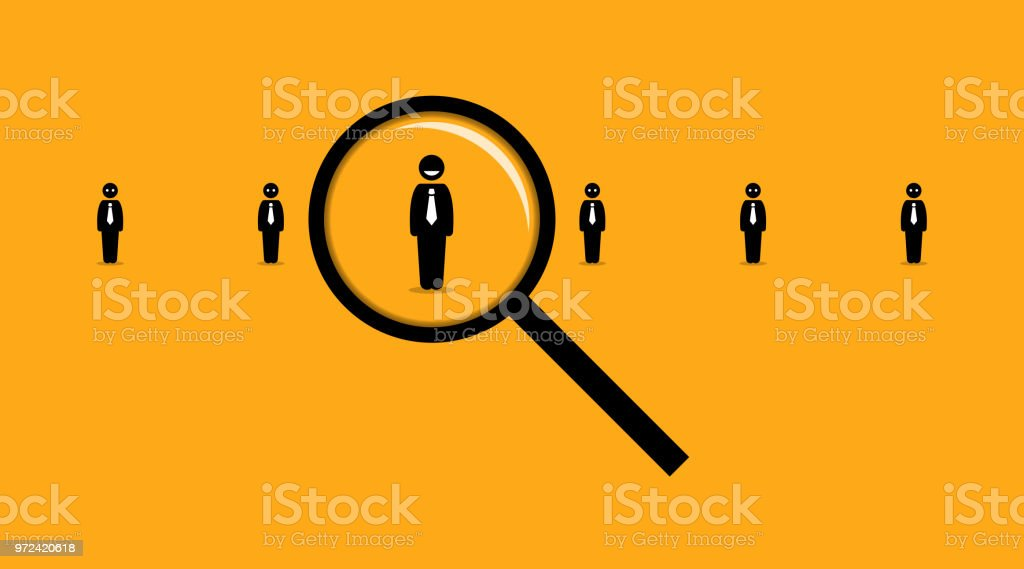 Using a magnifying glass searching for the right employee among many others job seeker. vector art illustration