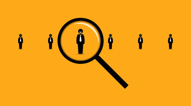 Using a magnifying glass searching for the right employee among many others job seeker. Vector artwork depicts the concept of employment, hiring, headhunter, recruits,  and human resources. recruiter stock illustrations
