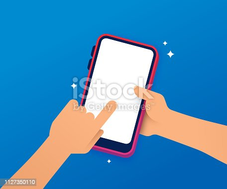Social media hand using a smart phone mobile device.