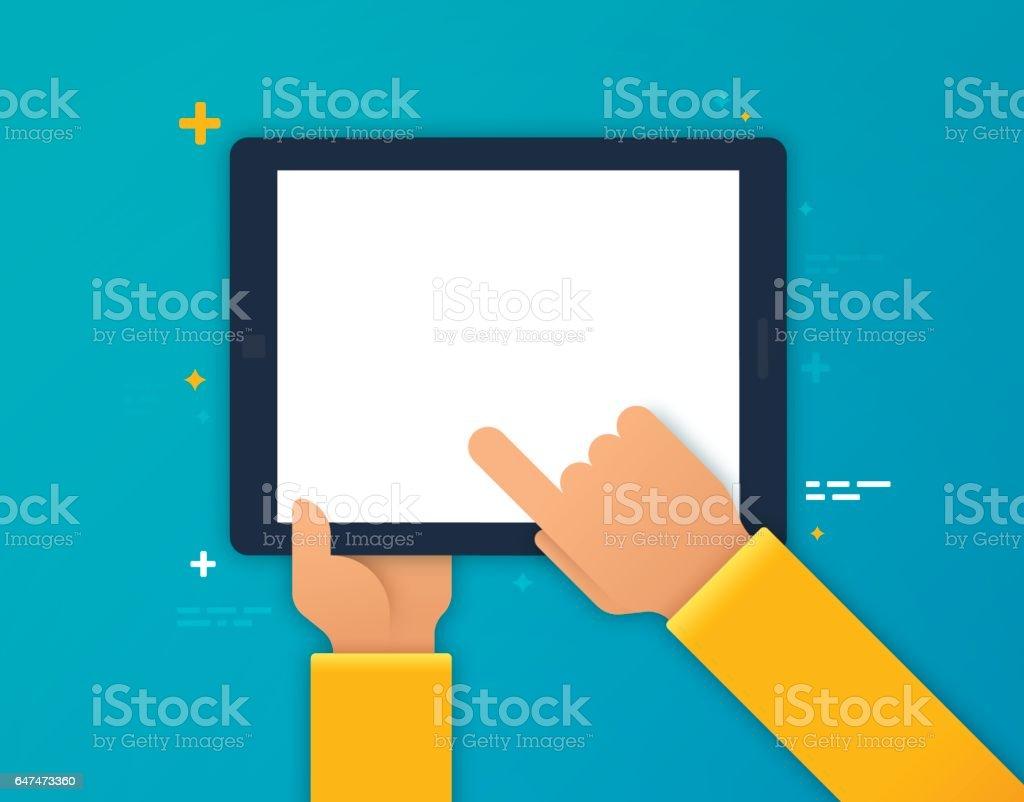 El uso de un dispositivo móvil - ilustración de arte vectorial