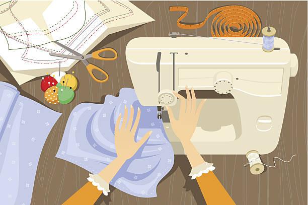 illustrazioni stock, clip art, cartoni animati e icone di tendenza di utilizzo di una macchina per cucire - tailor working