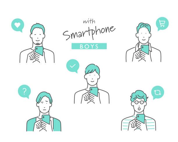 ilustrações de stock, clip art, desenhos animados e ícones de using a smartphone for something - somente japonês