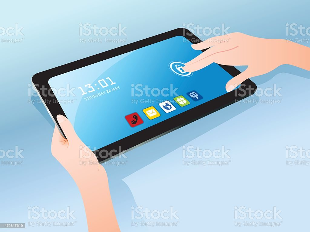 Using a tablet royalty-free stock vector art