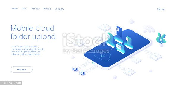 istock Using cloud folder service in isometric vector illustration. Uploading documents in digital storage. Data transfering application. Web banner template. 1317623758