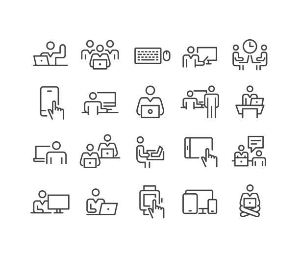 ilustrações, clipart, desenhos animados e ícones de usando ícones dos computadores - série clássica da linha - carteira