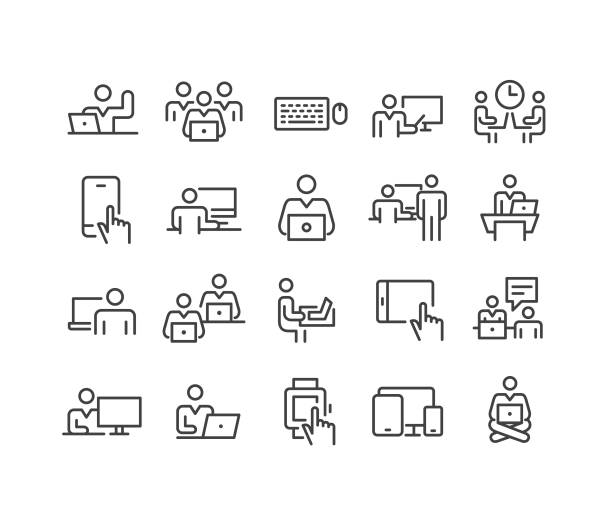 verwenden von computersymbolen - classic line series - schreibtisch stock-grafiken, -clipart, -cartoons und -symbole
