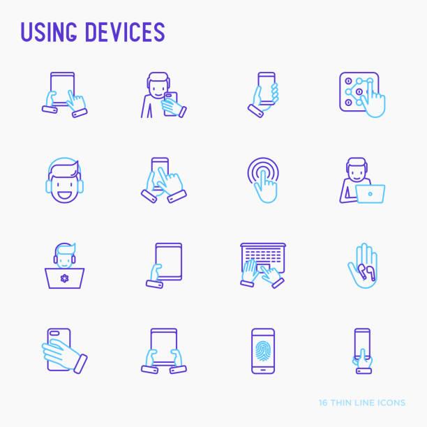 ilustrações, clipart, desenhos animados e ícones de usando o conjunto de ícones de linha fina de dispositivos: gadget, tablet em mãos, touchscreen, impressão digital, laptop, fones de ouvido sem fio. ilustração em vetor moderno. - user line icon