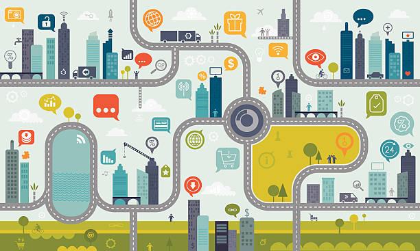 ilustraciones, imágenes clip art, dibujos animados e iconos de stock de utilizar internet interminables patrón concepto de - íconos de caminos