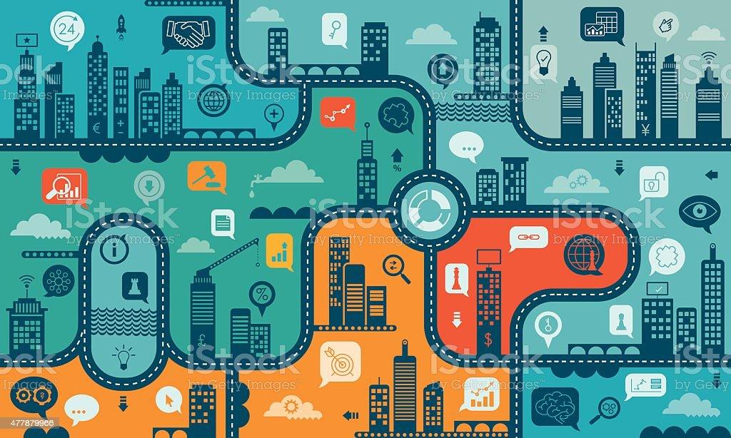 Using Internet For Business Endless Pattern向量藝術插圖