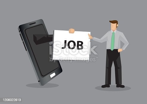 Arm from mobile phone hands placard with text JOB to cartoon professional man, metaphor for using technology for job opportunities. Creative vector illustration isolated on grey background.