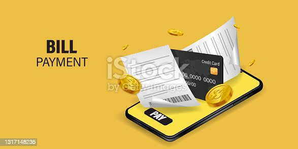istock Using online money instead of cash. Fast and convenient mobile online transactions. Pay bills via mobile phone without using an ATM. Convenient and fast phone payment application. Vector illustration. 1317148235