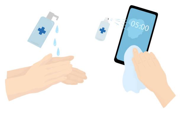stockillustraties, clipart, cartoons en iconen met met behulp van ontsmettingsmiddel voor handen en telefoon. coronavirus ziektepreventie maatregelen. vector vlakke illustratie die op een witte achtergrond wordt geïsoleerd. - corona scherm