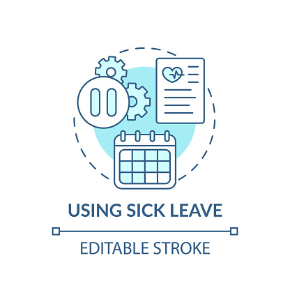 Using sick leave concept icon. Paid time off from work idea thin line illustration. Health needs with pay. Quarantine and coronavirus. Vector isolated outline RGB color drawing. Editable stroke