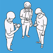 Vector illustration full length character of male and female teenagers, holding and touching smartphone. Outline, linear, thin line art, hand drawn sketch design, simple style.