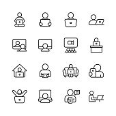 16 Using Technology Outline Icons. Smartwatch Notification, Holding Smartphone, Using Technology, Playing Video Games, Taking Selfie, Taking Photograph, Typing, Holding Digital Tablet, Tap Gesture,  Pressing the Button, Drawing or Painting on Digital Tablet, Reading E-Book, Tablet, Smartphone, Mobile Phone, Laptop, Desktop Computer, Gaming Console, Smartwatch, Video Conference, Online Messaging, Text Messaging, Online Video, Working From Home.