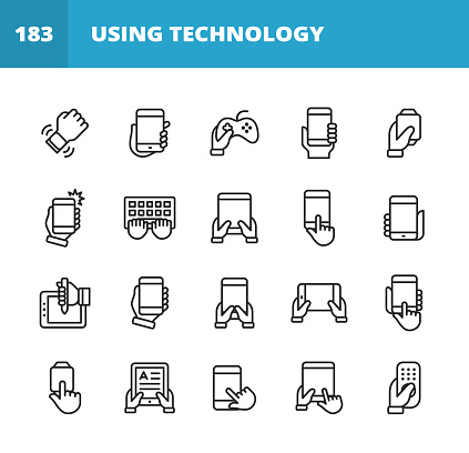 Using Technology Line Icons. Editable Stroke. Pixel Perfect. For Mobile and Web. Contains such icons as Smartwatch, Smartphone, Laptop,Tablet, Keyboard, Video Games, E-Reader, Notification, Taking Selfie, Work From Home, Video Conference, Technology.