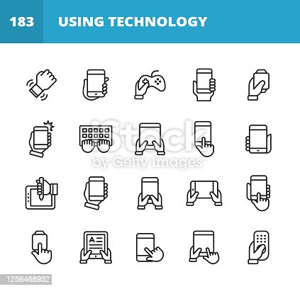 20 Using Technology Outline Icons. Smartwatch Notification, Holding Smartphone, Using Technology, Playing Video Games, Taking Selfie, Taking Photograph, Typing, Holding Digital Tablet, Tap Gesture,  Pressing the Button, Drawing or Painting on Digital Tablet, Reading E-Book, Tablet, Smartphone, Mobile Phone, Laptop, Desktop Computer, Gaming Console, Smartwatch, Video Conference, Online Messaging, Text Messaging, Online Video, Working From Home.