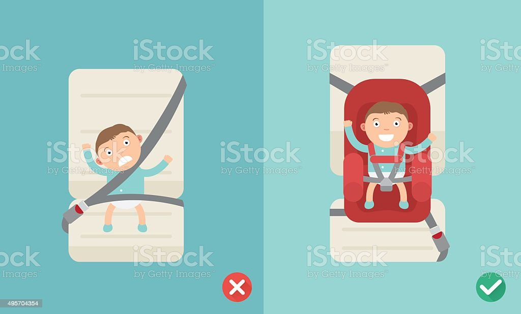 using the car seat for a baby vector art illustration
