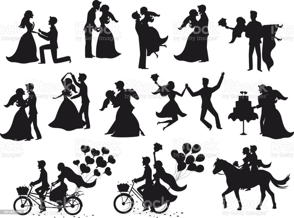 ust married , newlyweds, bride and groom  silhouettes set. vector art illustration