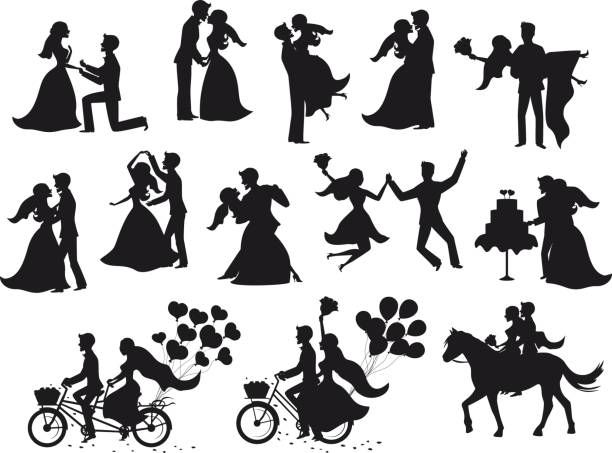 ust married , newlyweds, bride and groom  silhouettes set. Just married , newlyweds, bride and groom  silhouettes set. Happy Couple celebrating marriage, dancing, kissing, hugging, holding each other in arms, cut cake, riding bike and horse, jumping after ceremony bridegroom stock illustrations