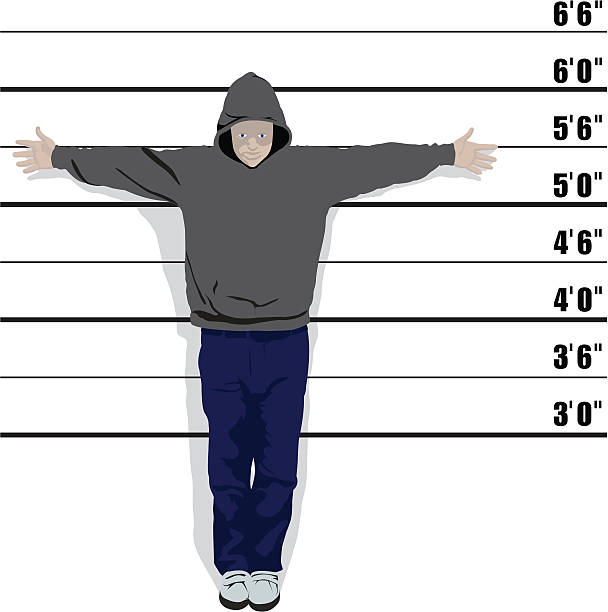 Usual Suspect - Vector Vector image of an average youth with hoody. Very detailed, change the colours to suit your design. AI, EPS, PSD and JPEG included police line up stock illustrations
