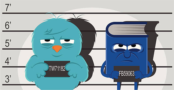 Usual suspects Blame it all on social networking. Bluebird and face book as criminals. JPG (6312x3270px), PDF, PNG and AI files available in zip file. police line up stock illustrations