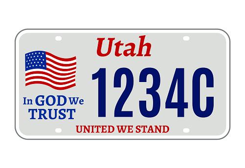Utah car license plate usa number vector retro sign. American utah state plate license